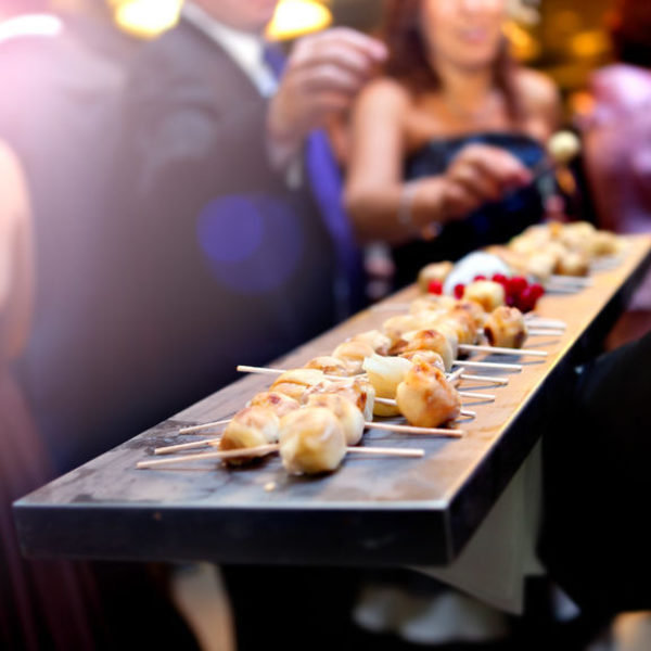 Catering service. Modern food or appetizer for events and celebrations.